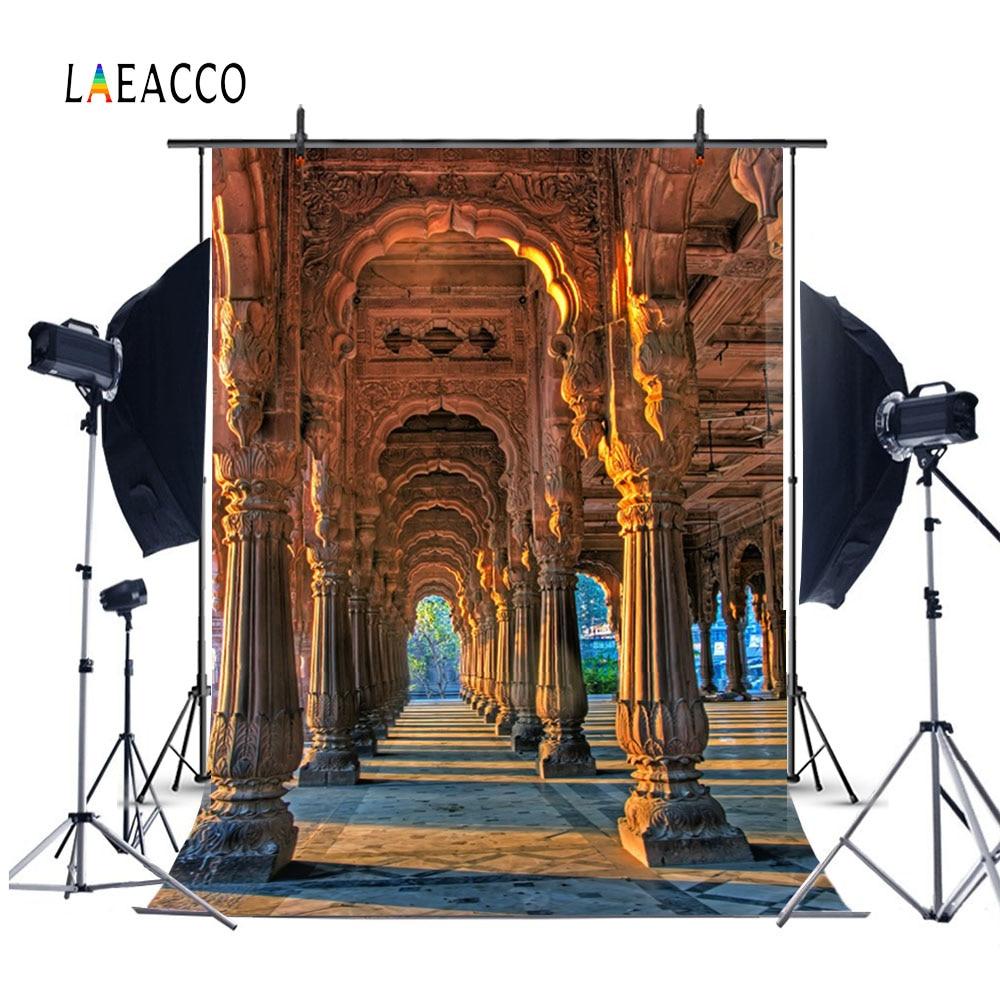 Laeacco Templo Antigo Palácio Pilar Arco Corredor Scenic Backdrops Para Estúdio de Fotografia Fotografia Fundos Fotográficos Personalizados