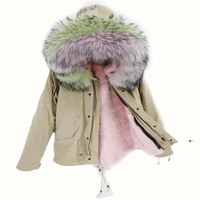 2019 grey parkas winter jacket women winter coat women parka real fur coat natural raccoon fur collar hooded warm thick