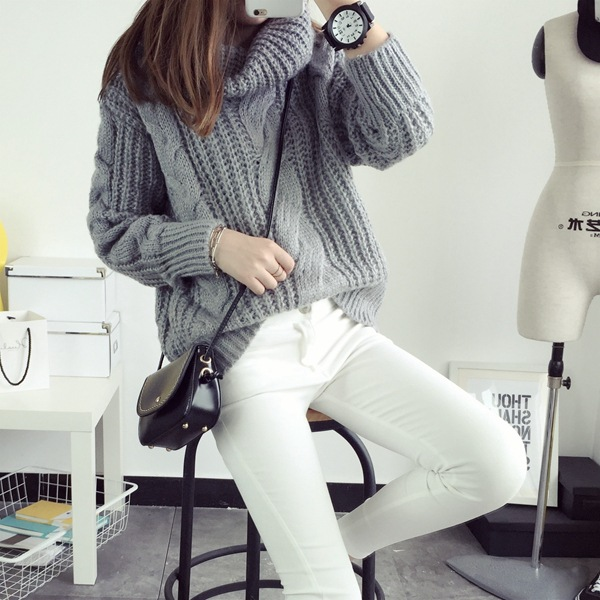 turtleneck slim pullover spring
