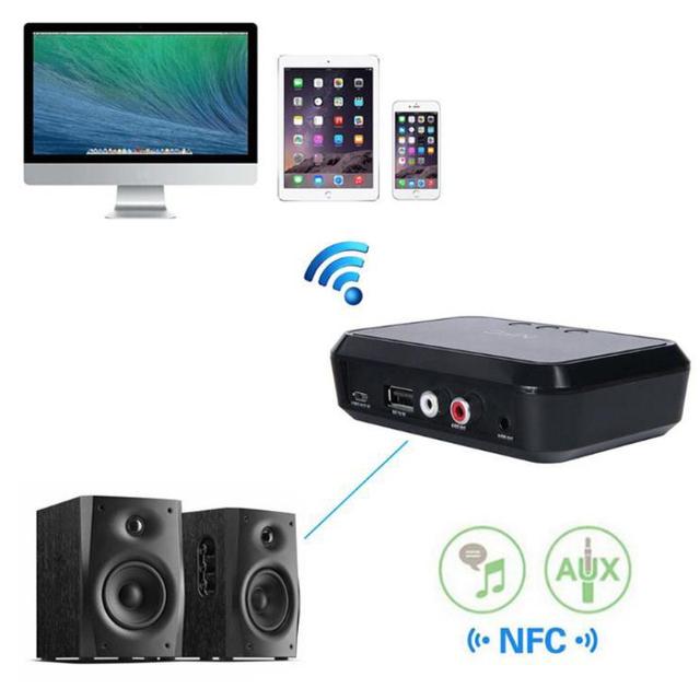 NFC Bluetooth 4.1 RCA de 3.5mm de Audio Estéreo Adaptador Receptor de Música Bluetooth Car Home Altavoz de escritorio