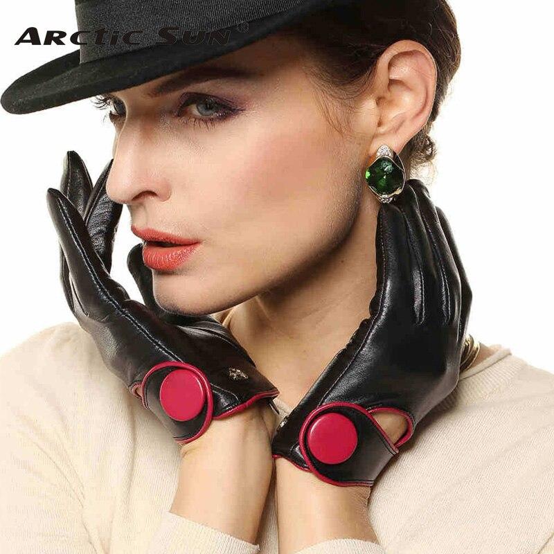 2019 High end Women Genuine Leather Gloves Contrast Color Fashion Slim Sheepskin Glove Wrist Button Solid