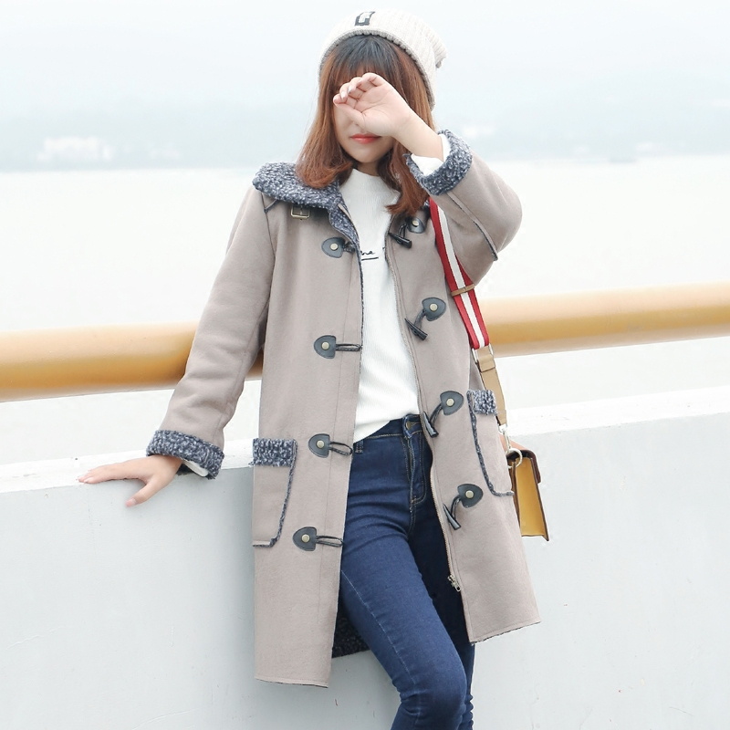 ФОТО 2017 Ukraine Mckiki Wide-waisted Full Winter New Women's Suede Coat Thickened Lamb Wool Korea Hot Long Cotton Warm Jacket Lapel