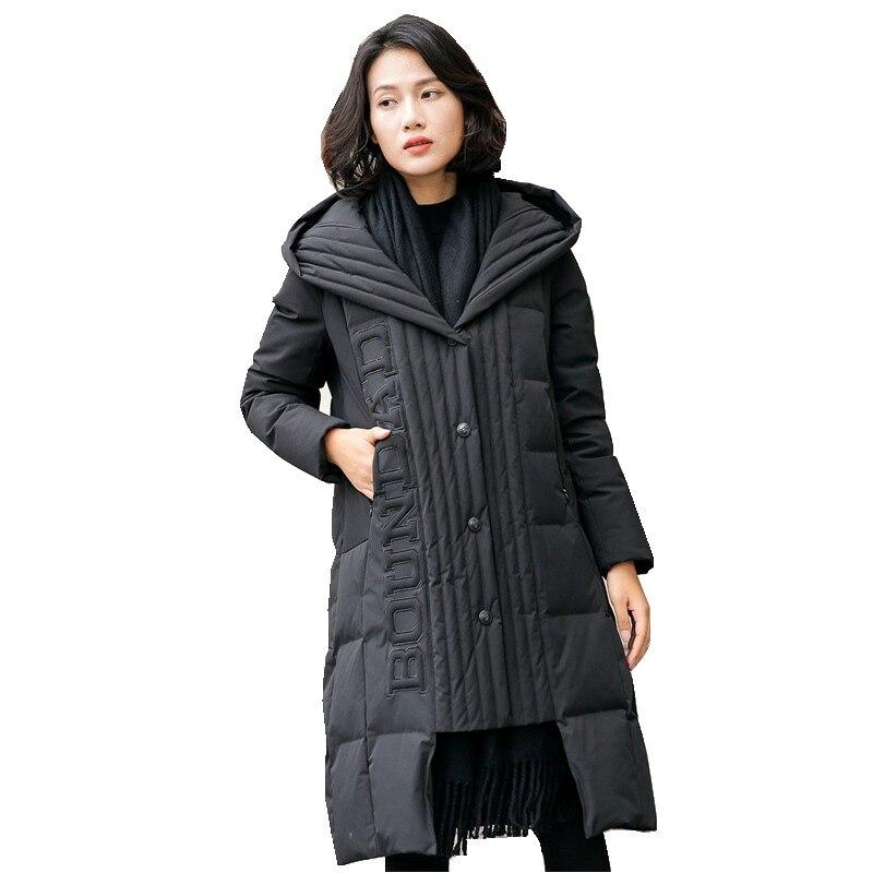 European Winter Women Parkas Down Coats Jacket With Hoody Lady Warm Trench Outerwear Overcoat LF4217