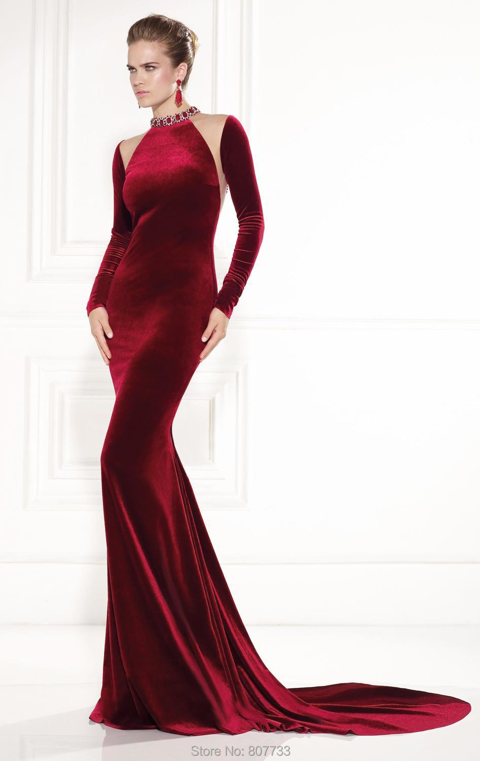 W061 New Design cut mermaid high neck beaded back long sleeve velvet  evening dresses wine color-in Evening Dresses from Weddings   Events on  Aliexpress.com ... e4a7201c8713