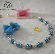 MIYOCAR Stunning Princess blue pearl retro hand made pacifier chain /pacifier clips/Dummy clip/Teethers clip /pacifier holder