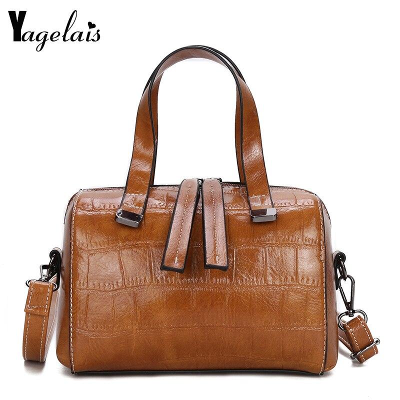 5528dd7bb302 2019 новая кожаная женская сумка Винтаж Аллигатор сумка модная женская сумка  на плечо коробка Stlye Маленькая