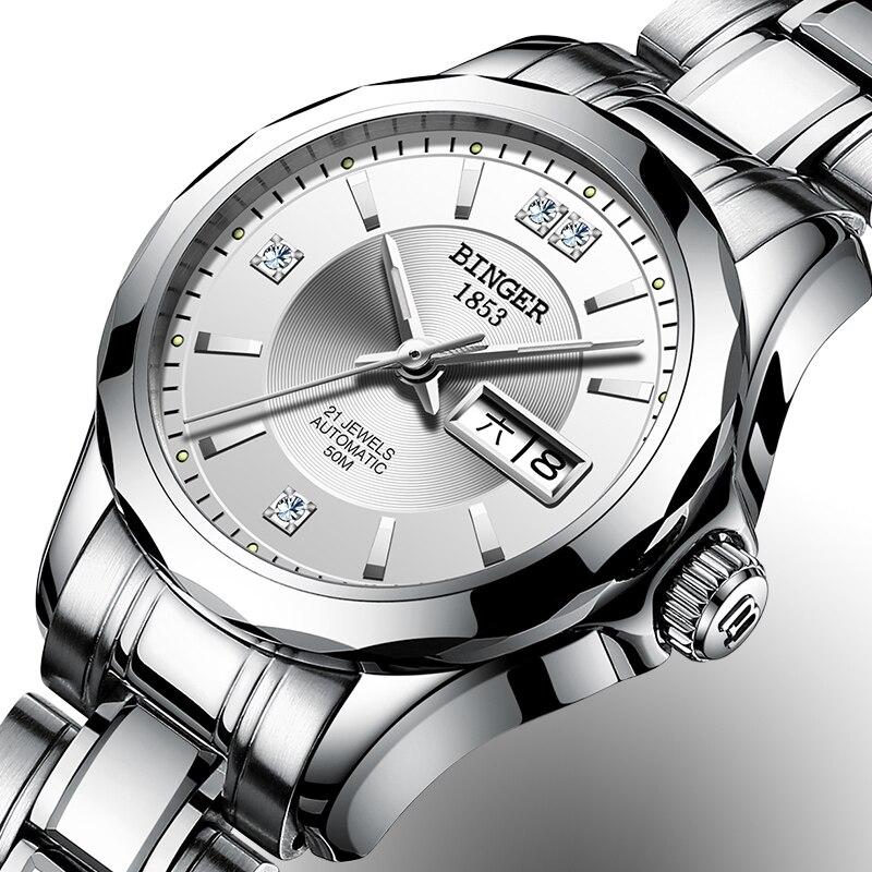 2017 Binger Uhr Frauen Luxus Marke Japan Automatische Mechanische Bewegung Handgelenk Sapphire Wasserdichte Damen Uhr gold 8051