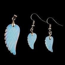 100-Uniqe 1 Set Silver Plated Angel Wing Opalite Opal Pendant Hanging Earrings Modern Jewelry