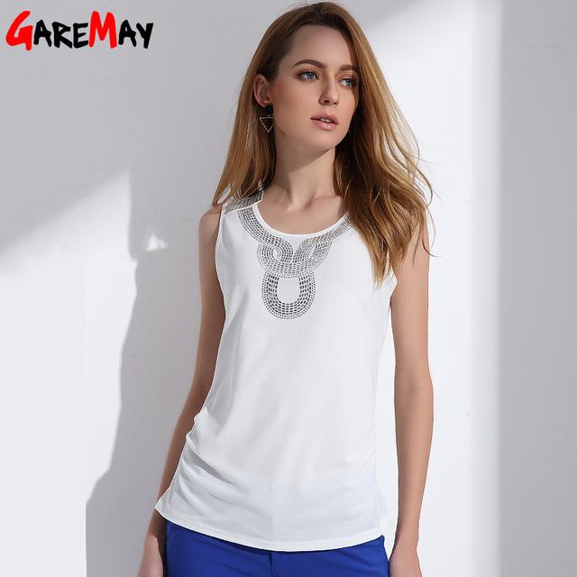 GAREMAY 2017 Verão Mulheres Tanque Top Trabalho Elegante Halter Top moda branco top tanques camis colete fino mulheres verão clothing 0150