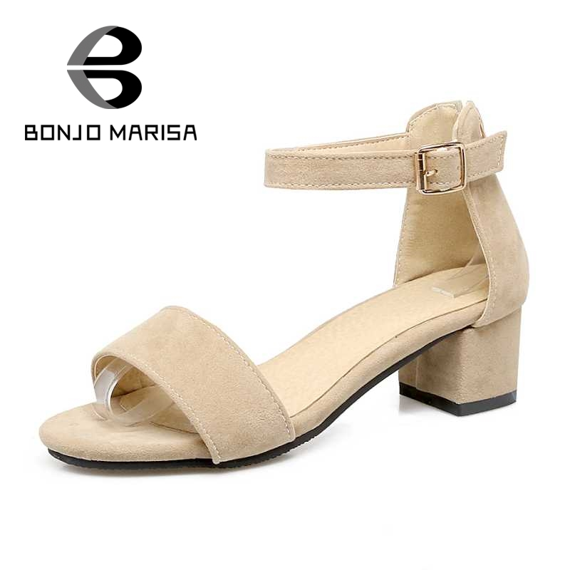 ФОТО BONJOMARISA Ankle Strap Summer Shoes For Woman 2017 Chunky Heel Open Toe Platform Flock Leisure Sandals Big Size 30-50