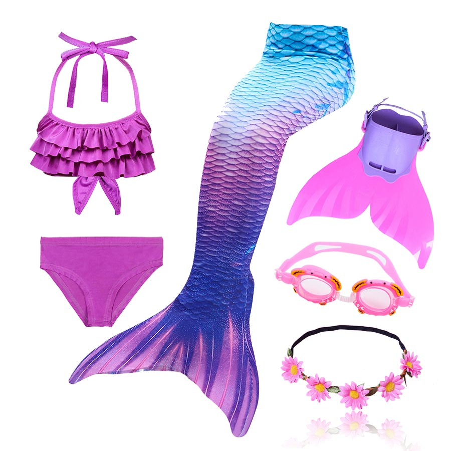 Kids Swimmable Mermaid Tail For Girls Swimming Bating Suit Mermaid Costume Swimsuit Can Add Monofin Fin Goggle With Garland(China)