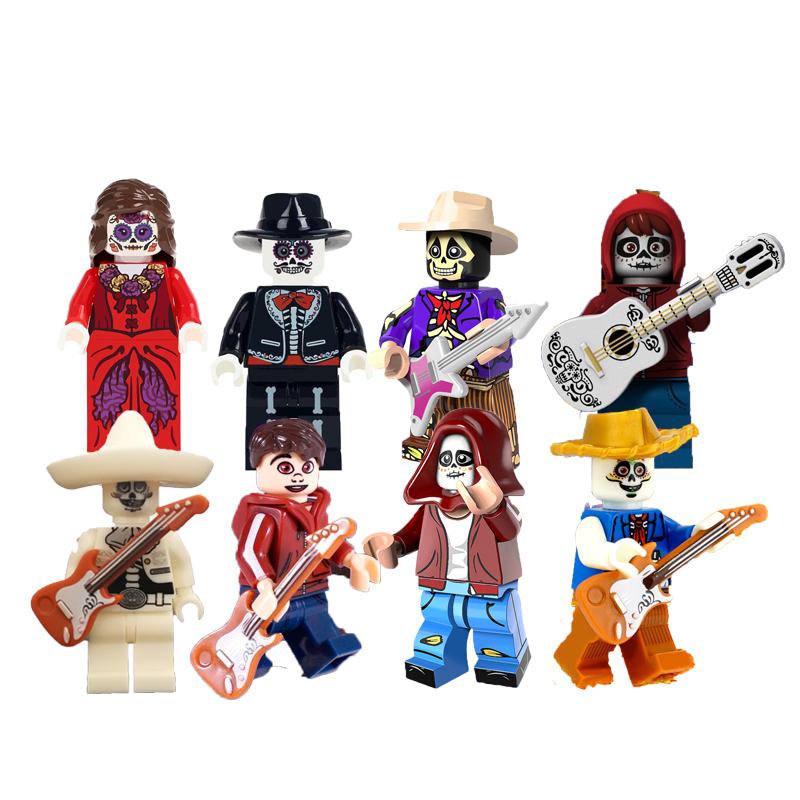 Single sale building blocks The movie Coco Miguel Rivera Hector skeleton model action figure sets best toys for children da045 single sale the day of the dead coco movie hector miguel building blocks bricks best learning doll for children gift toys