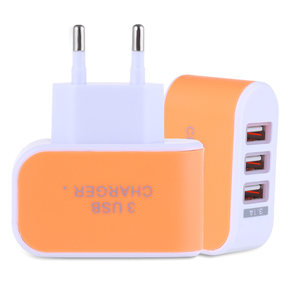 3 USB Ports Coloured Multifunctional 5V 3.1A Universal Travel Charger Adapter