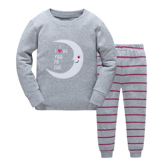 b9fe44a0bc47 Children Pajamas set Boys Cartoon dinosaur Pyjamas girls cotton cute ...