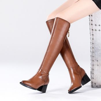 Vangull Women Genuine Leather Boots fashion Handmade pointed toe womens cow leather knee boots Fashion thick heel