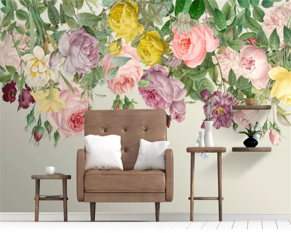 beibehang Custom size wall papers home decor Nordic modern fresh hand painted floral rose living room background wallpaper in Wallpapers from Home Improvement