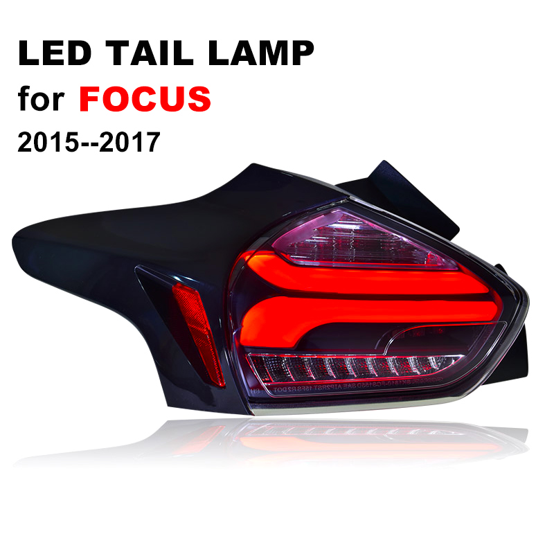LED Tail Lamp for Ford Foucs 2015 2016 2017 Smoked Black LED Tail Light with Yellow