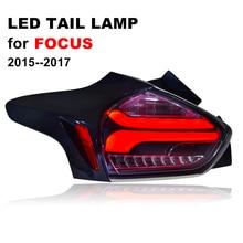 Светодиодный хвост лампа для ford foucs 2015 2016 2017 курил черный светодиодный фонарь с желтым поворота сигнала и красный стоп
