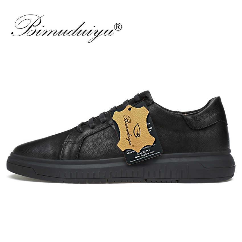 BIMUDUIYU erkekler hakiki deri rahat ayakkabılar erkekler Lace Up yeni moda Sneakers kauçuk taban kaymaz nefes yumuşak daireler erkek ayakkabısı