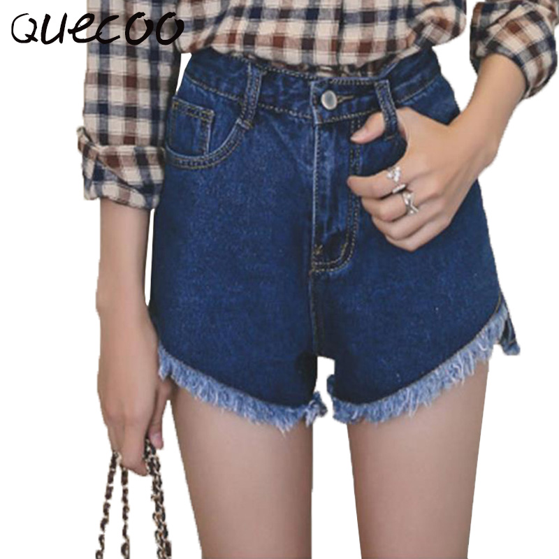 QUECOO S XL 2017 summer new jeans women casual shorts women tassel pants hot pants ladies