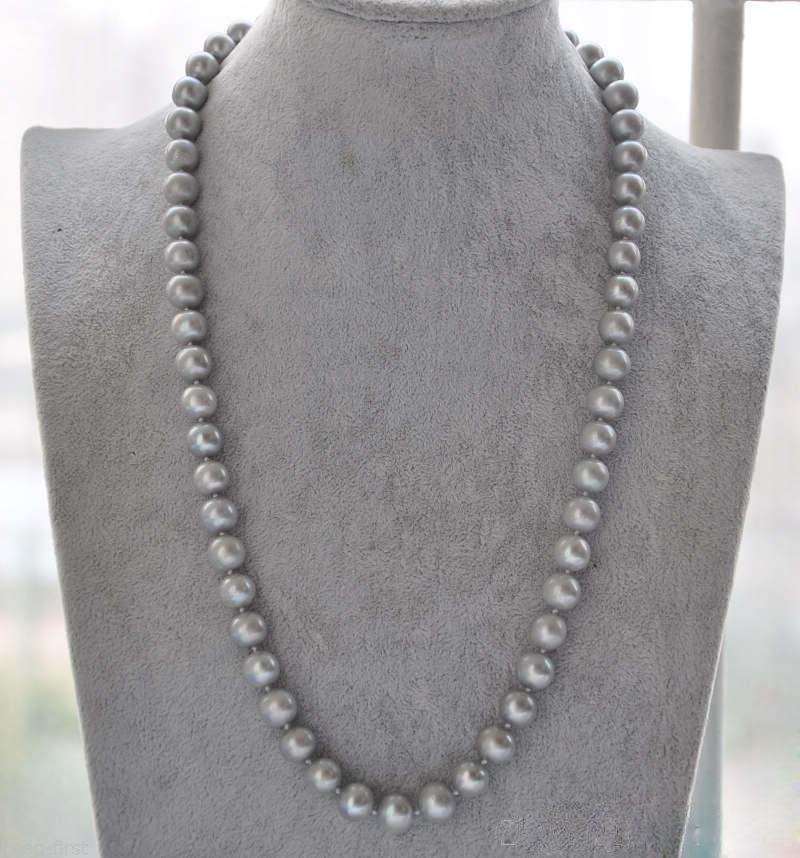 Collier de perles de tahiti grise naturelle AAA 9-10mm 925 argent or blanc 20 poucesCollier de perles de tahiti grise naturelle AAA 9-10mm 925 argent or blanc 20 pouces
