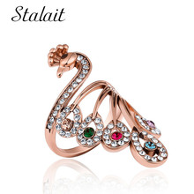 цена на Bohemian Peacock Water Drop Ring For Female Mosaic Multi Color Crystal Rhinestone Spiral Ring Party Friend Gift Creative Jewelry