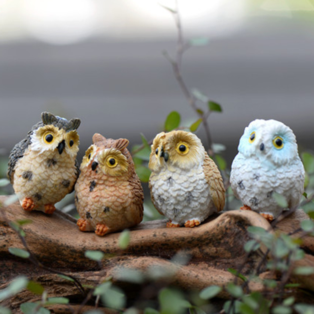 Decorative garden ornaments - 4pcs Cute Animal Resin Owls Miniatures Figurine Craft Bonsai Pots Home Fairy Garden Ornament Decoration Moss Terrarium Decor