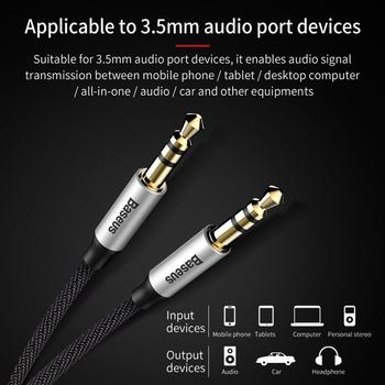Baseus 3.5mm Jack Audio Cable Jack 3.5 mm Male to Male Audio Aux Cable For Samsung S10 Car Headphone Speaker Wire Line Aux Cord 2