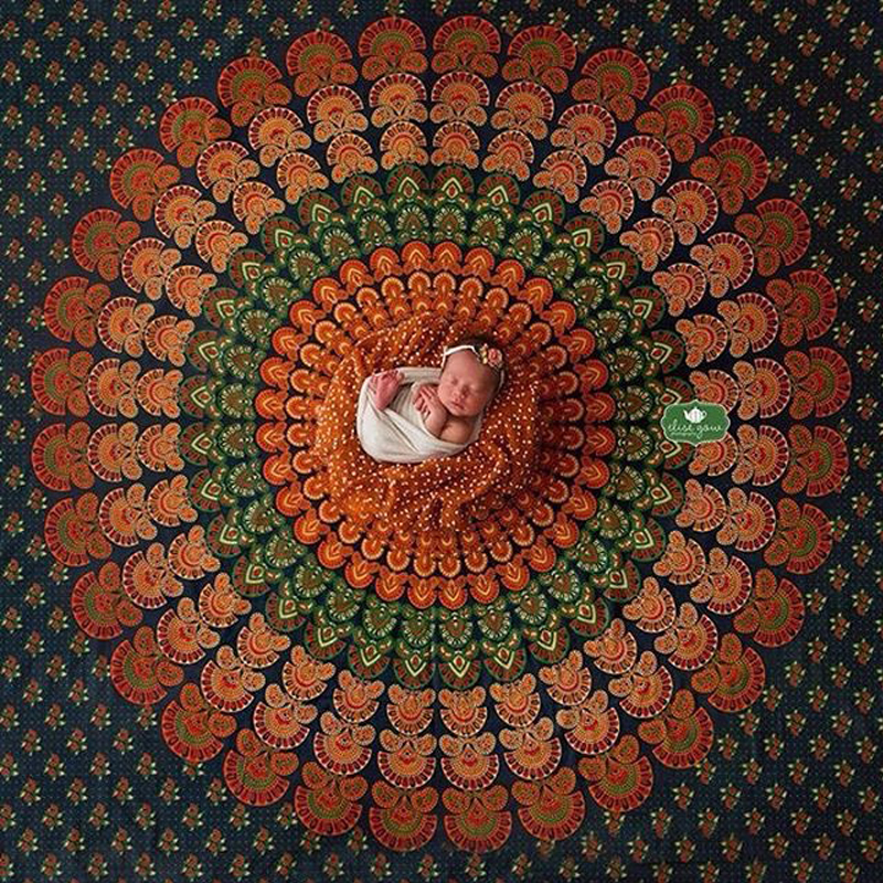 140cm*2m Newborn Photography Props Blanket Laying Indian Mandala Tapestry Sheet Peacock Boho Posing Backdrop Fotografia indian mandala paisley lotus shape beach throw