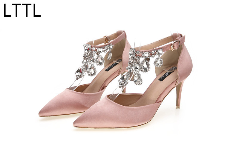ФОТО Exquisite Spring Autumn New Ankle Diamond Buckle Silk Pointed Toe High Heels Shoes Fine With Sexy Women Pumps Wedding Shoes
