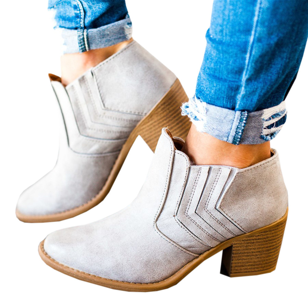 Autumn Spring Fashion Women Chunky Heel Boots High Heels Platform Ankle Booties Black Gray Leather Ladies Shoes Plus Size 43