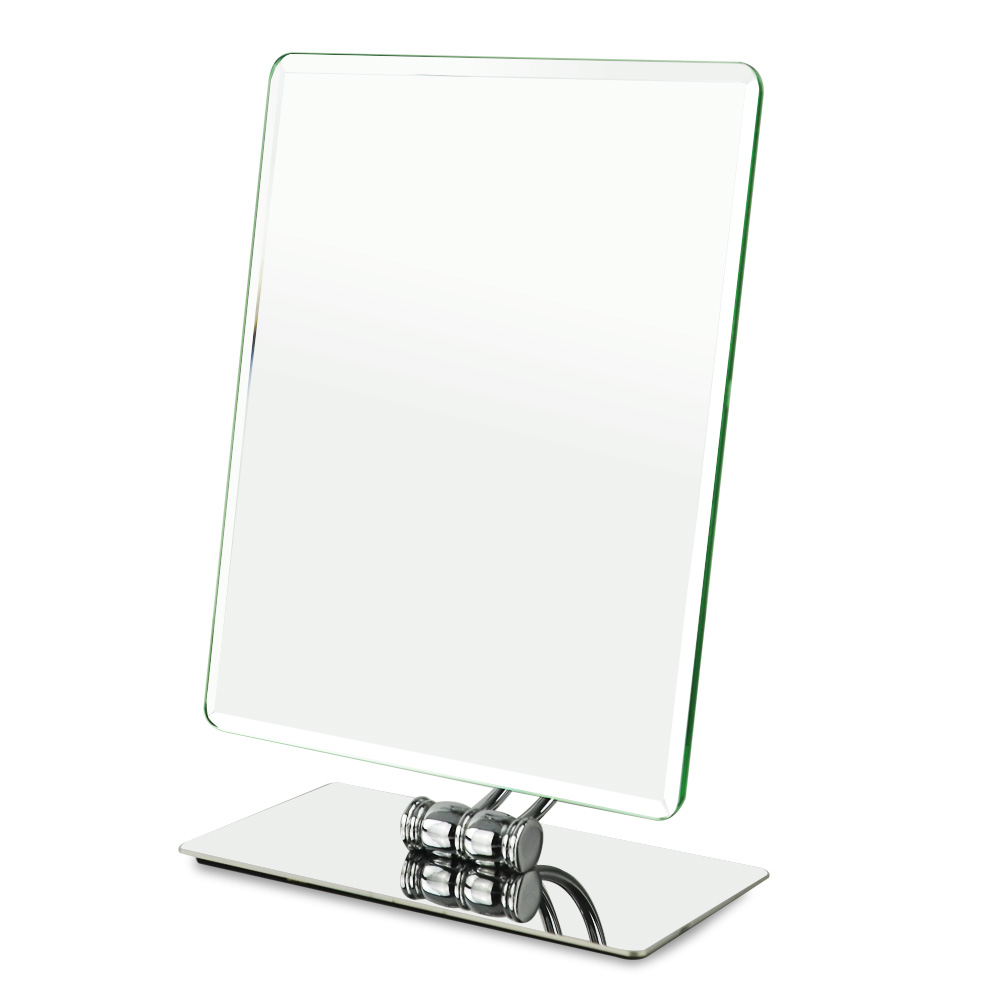 360 degrees swivel rotation Tabletop Vanity Makeup Mirror, 10.2 x 8.2 inch, Rectangle, Chrome