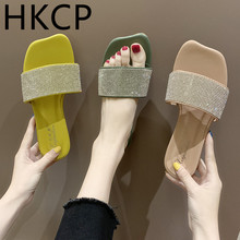 HKCP Fashion Slippers female summer wear flat with fashion diamond 2019 new Korean version of the beach sandals C170