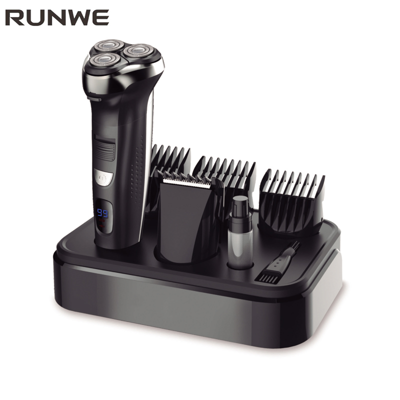 RUNWE 2-in-1 Triple Blade Electric Shaver For Men Electric Hair Clipper Hair Trimmers 110-240V Electric Razor Machine For Men povos pw830 men s electric shaver triple blade