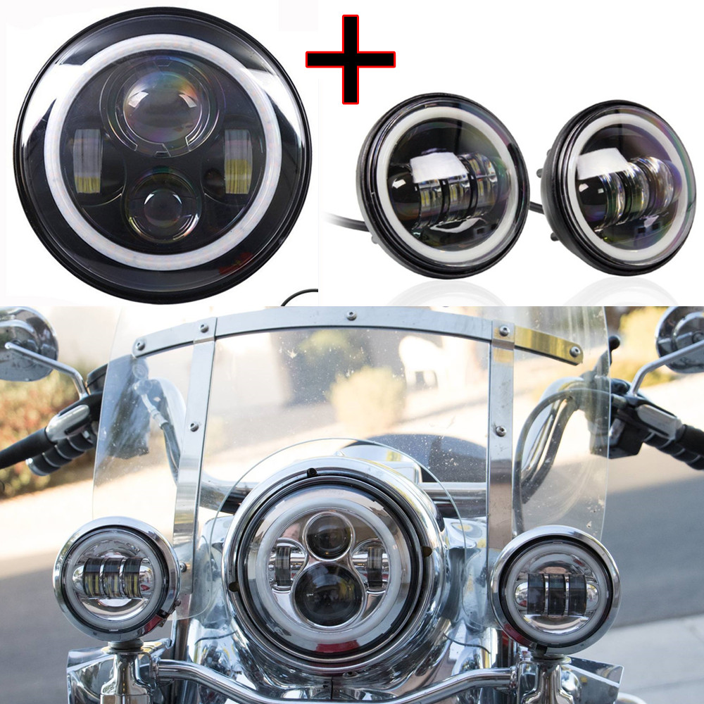 7 Inch Motorcycle Daymaker Led Headlights White DRL Halo Angel Eye + 4.5Inch Led Fog Lights Halo Ring DRL For Harley Davidson 7 inch round led headlightdaymaker drl angel eye with 4 5 inch fog lights halo with 7bracket support ring for jeep
