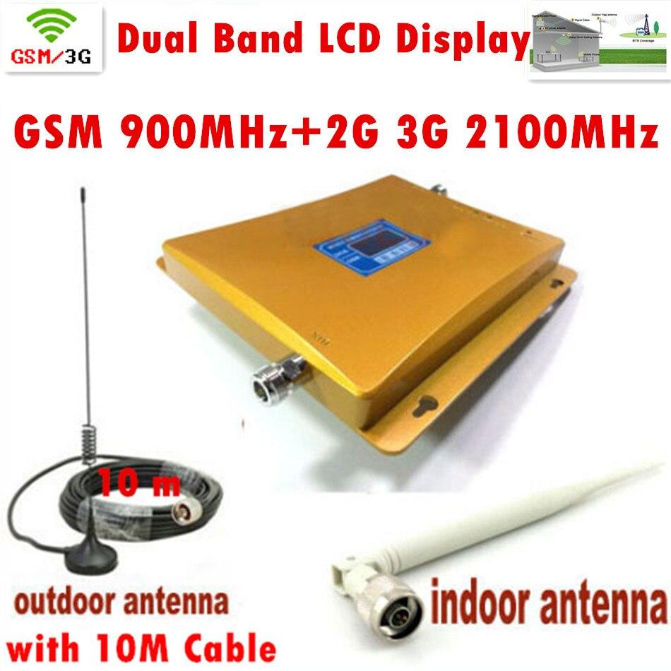 Ensemble complet double bande LCD affichage 3G W-CDMA 2100 MHz + GSM 900 Mhz téléphone portable Signal Booster câble antenne gsm booster répéteur