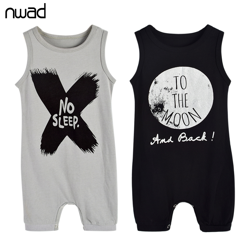 Baby Boys Rompers 2017 Summer Letter Sleeveless Romper Newborn Boy Cotton Clothing No Sleep Print Jumpsuits For Toddlers FF123 summer baby romper boys clothing ropa bebe cotton jumpsuits short sleeve newborn rompers baby girls boys clothes