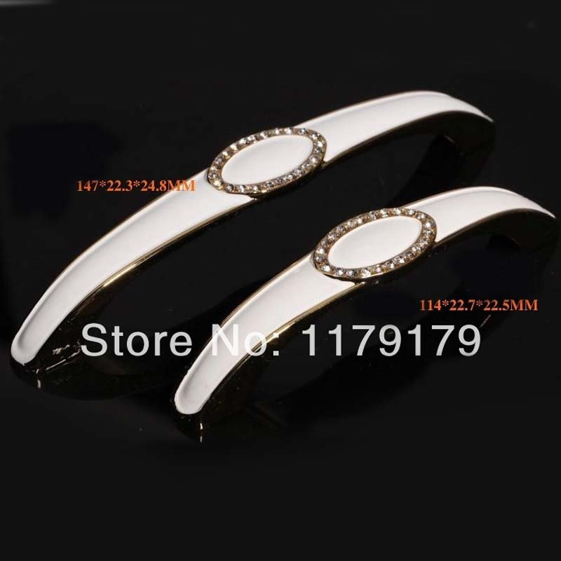 ₪128mm Diamante de cristal tirador K9 claro cajón manijas oro blanco ...