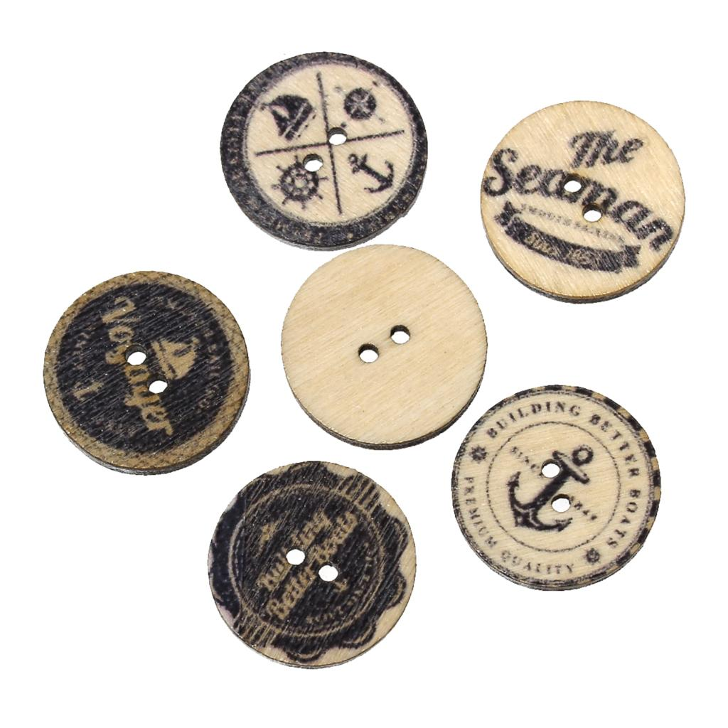 "DoreenBeads Wood Sewing Button Scrapbooking Round Black 2 Holes At Random Pattern 20.0mm (6/8"")Dia,15 PCs 2016 new"