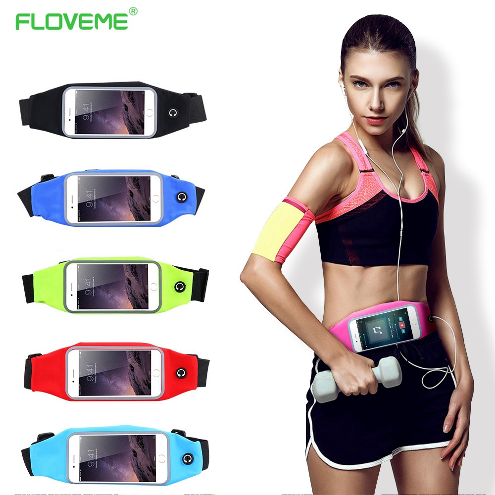 FLOVEME Sports Outdoor Gym Waist Phone Case For iPhone 6 6s For iPhone 7 Plus Card Holder Earphone Hole Belt Running Wallet Bags