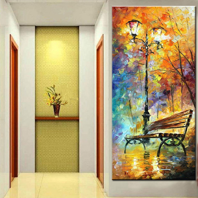 Handpainted Knife Night Park Landscape Oil Painting on Canvas Large ...