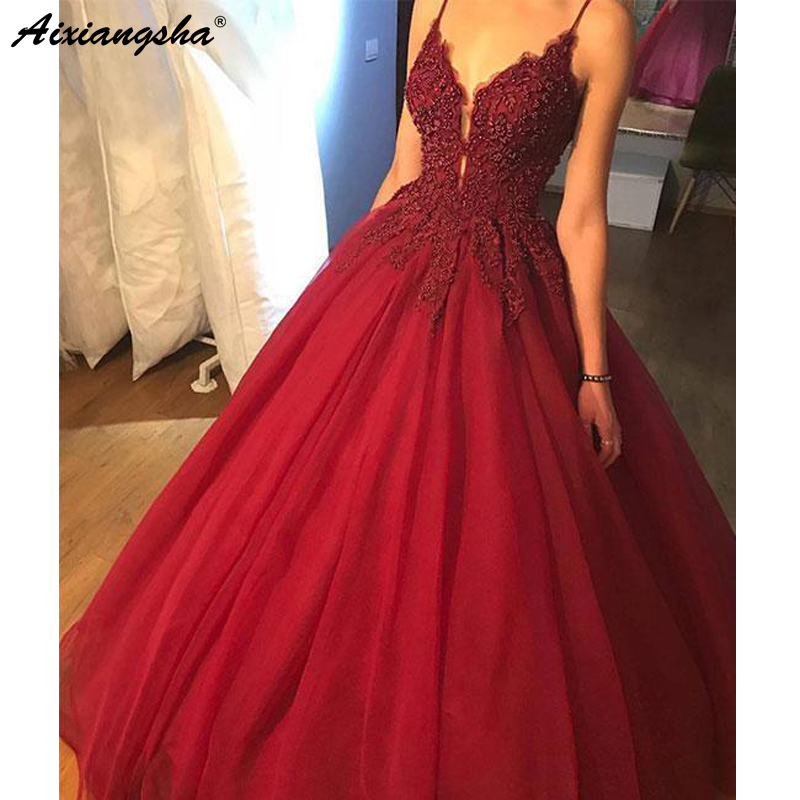 2019 Spaghetti Strap Ball Gown Burgundy   Evening   Gown Beaded Bodice Formal   Dress   robe de soiree   Evening     Dresses   Long