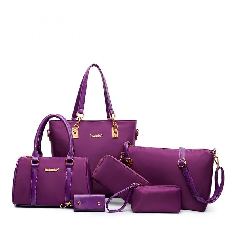 bbc1fe103e 2016 New women fashion composite handbag six pieces nylon bag set female  big bags 6 pcs