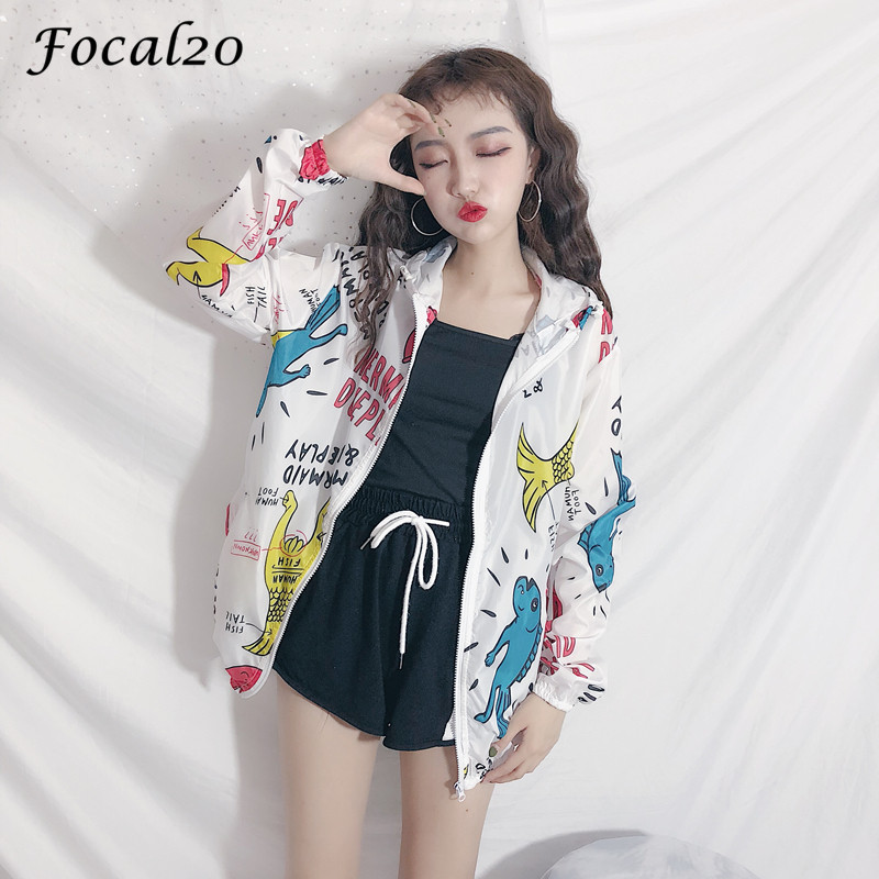 Focal20 Streetwear Cartoon Fish Letter Print Hooded Jacket Coat Women Autumn Zipper Long Sleeve Jacket Feminino Coats 1