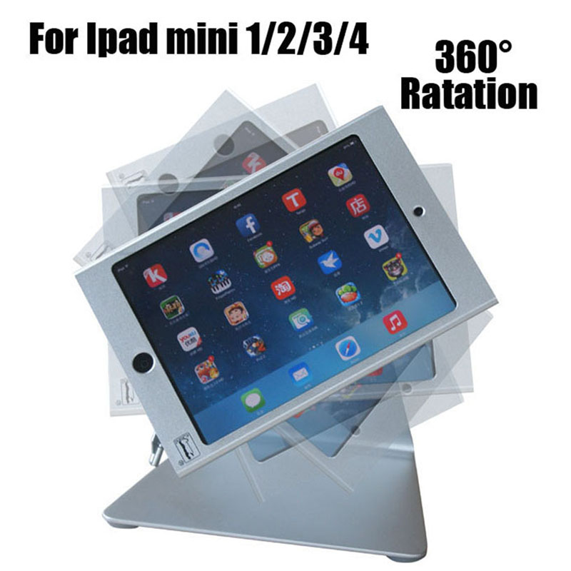 Mini iPad lockable security display stand metal tablet mounting bracket with 360 rotation head support for mini ipad 1 2 3 4 fit for ipad mini1 2 3 4 wall mount aluminum metal case bracket security desktop support for ipad mini holder for tablet