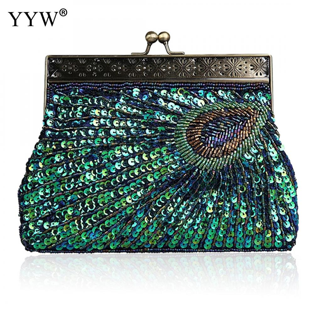 Women Evening bag Peacock tail pattern Clutch Bags with Tiny glass beads