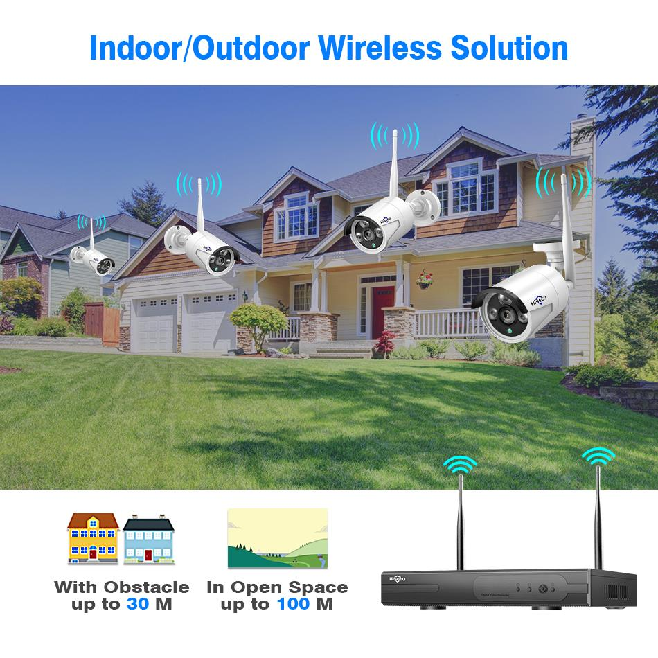 Sistema de CCTV inalámbrico Hiseeu 8CH 1080P 1TB 4 Uds 2MP NVR wifi IR-CUT cámara CCTV al aire libre sistema de seguridad IP Kit de videovigilancia - 4
