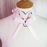 Sexy Lolita Cute Handcrafted Lace up Elastic Collar Big Heart Bow Ribbon Choker Necklace