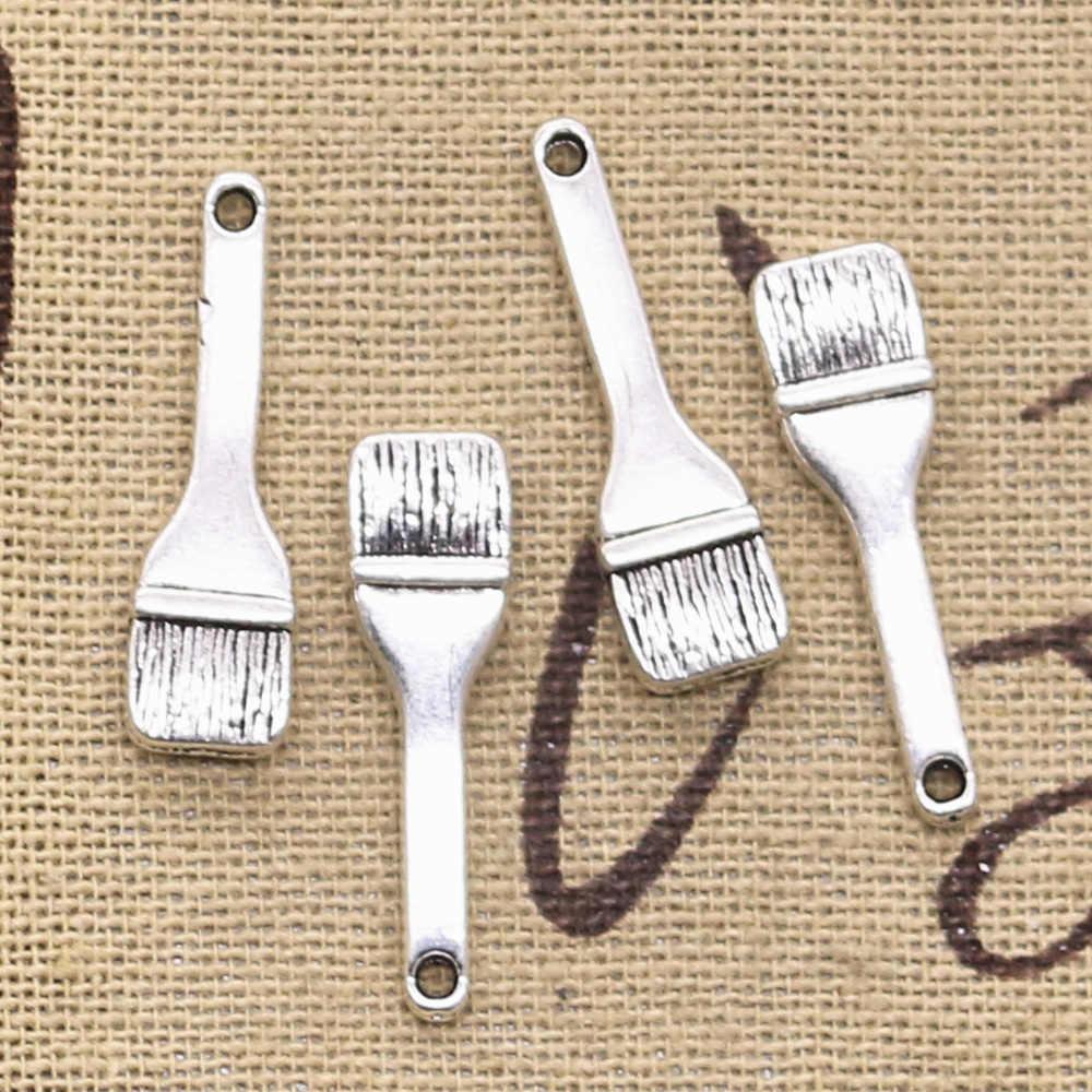 8pcs Charms Paint Brush 35x7mm Antique