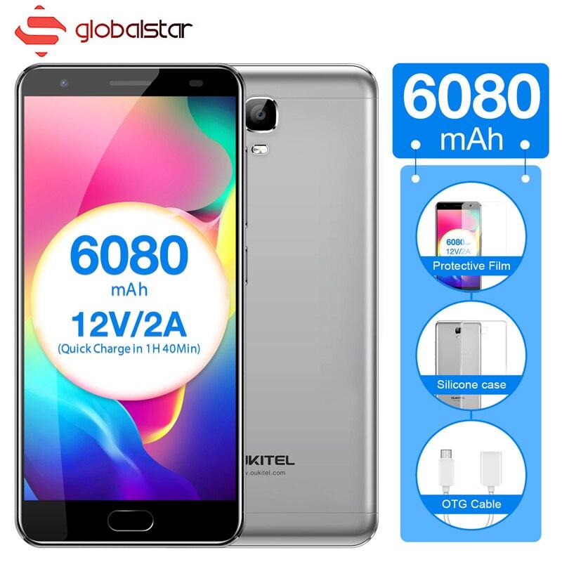 Oukitel K6000 Plus Smartphone MTK6750T Octa Core 5.5 pouces 4G RAM 64G ROM 6080 mAh Grande Batterie Android 7.0 4G LTE téléphone portable